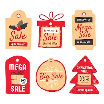 Ręcznie rysowane kolekcja tagów sprzedaży świątecznej