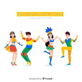Ręcznie rysowane kolekcja tancerz karnawał