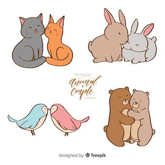 Ręcznie rysowane kolekcja valentine zwierząt para