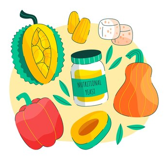 Ręcznie rysowane kolekcja wegetariańskich potraw o płaskiej konstrukcji