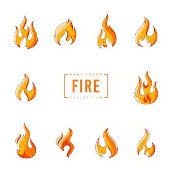 Ręcznie rysowane kolekcja wektorów płonącego ognia