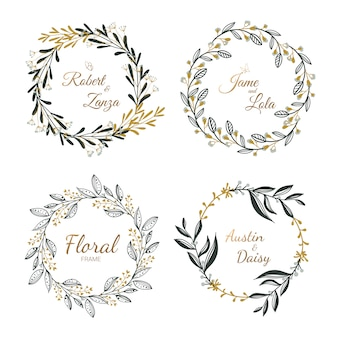 Ręcznie rysowane kolekcja wieniec kwiatowy na ślub, ślub karty.