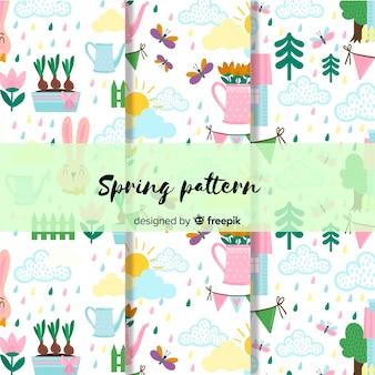 Ręcznie rysowane kolekcja wiosna wzór
