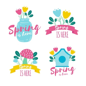 Ręcznie rysowane kolekcja wiosna znaczek