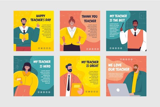 Ręcznie rysowane kolekcja wpisów na instagram dzień nauczycieli płaskich