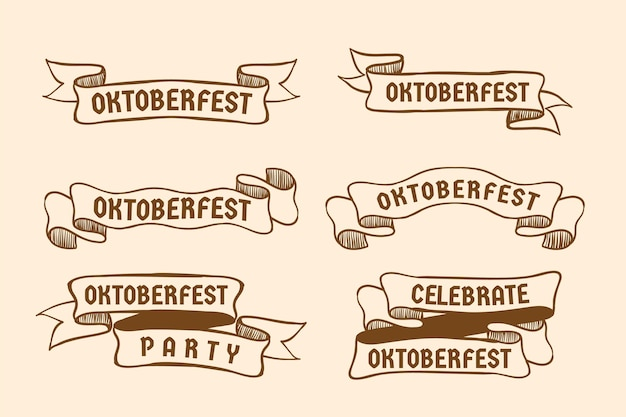 Ręcznie rysowane kolekcja wstążki oktoberfest