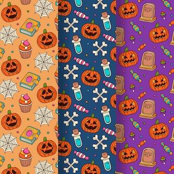 Ręcznie rysowane kolekcja wzór halloween