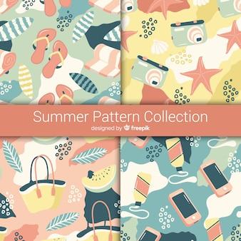 Ręcznie rysowane kolekcja wzór lato