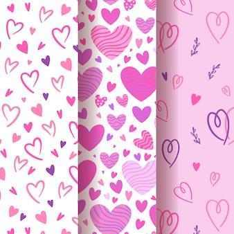 Ręcznie rysowane kolekcja wzór serca