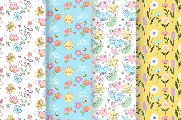 Ręcznie rysowane kolekcja wzór wiosna