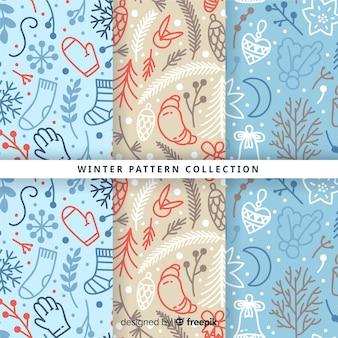 Ręcznie rysowane kolekcja wzór zimowy