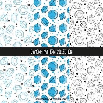 Ręcznie rysowane kolekcja wzorów diamentowych