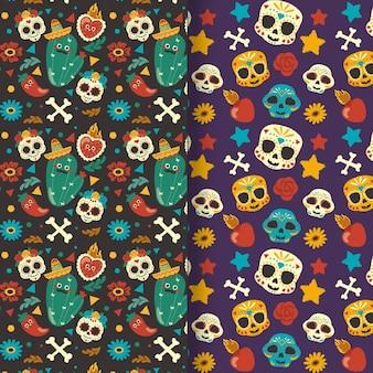 Ręcznie rysowane kolekcja wzorów płaskich dia de muertos