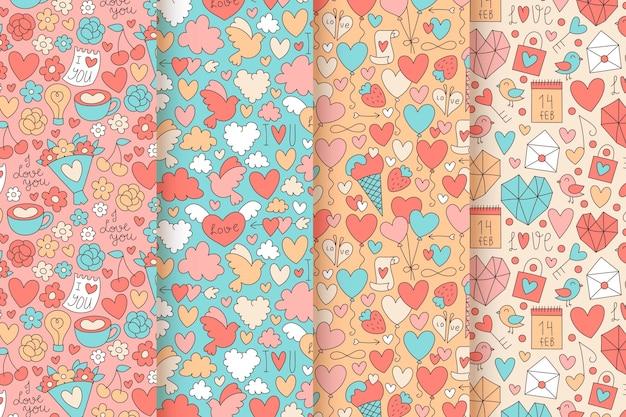 Ręcznie rysowane kolekcja wzorów walentynki