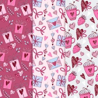 Ręcznie Rysowane Kolekcja Wzorów Walentynki Darmowych Wektorów