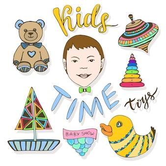 Ręcznie rysowane kolekcja zabawek dla dzieci. dziecinna kolorowy szkic ikony wektor zestaw