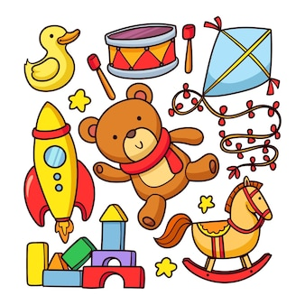 Ręcznie rysowane kolekcja zabawek świątecznych