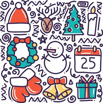 Ręcznie rysowane kolekcja zimowa doodle zestaw z ikonami i elementami projektu