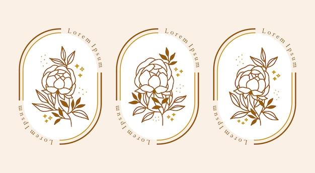 Ręcznie rysowane kolekcja złotego botanicznego kwiatu piwonii dla logo kobiecego piękna