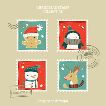 Ręcznie rysowane kolekcja znaczków christmas