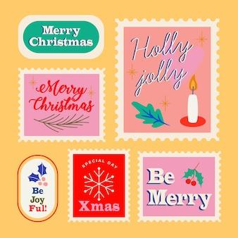 Ręcznie rysowane kolekcja znaczków świątecznych