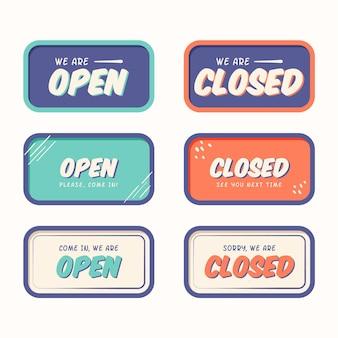 Ręcznie rysowane kolekcja znak otwarty i zamknięty