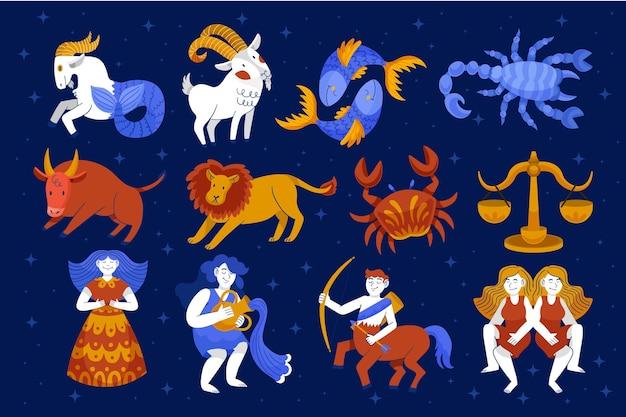 Ręcznie rysowane kolekcja znak zodiaku w stylu