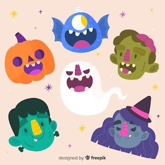 Ręcznie rysowane kolekcja znaków halloween