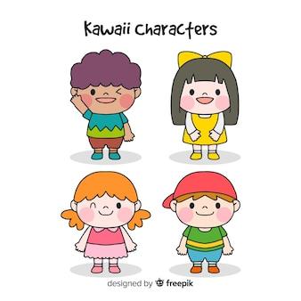 Ręcznie rysowane kolekcja znaków kawaii