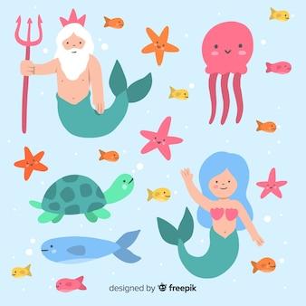 Ręcznie rysowane kolekcja znaków morskich