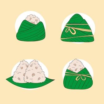 Ręcznie rysowane kolekcja zongzi smoczej łodzi