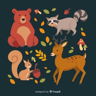 Ręcznie rysowane kolekcja zwierząt leśnych jesień