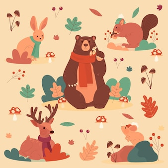 Ręcznie rysowane kolekcja zwierząt leśnych