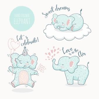 Ręcznie rysowane kolekcja zwierząt słonia