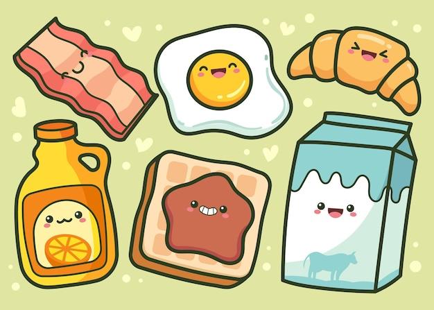 Ręcznie rysowane kolekcja żywności śniadaniowej