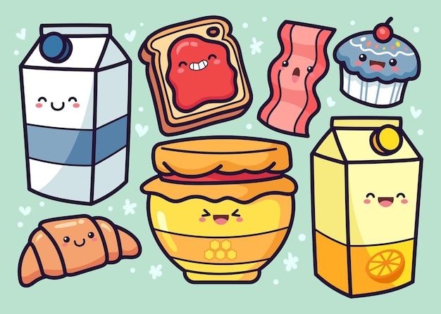 Ręcznie Rysowane Kolekcja żywności śniadaniowej Darmowych Wektorów