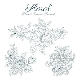 Ręcznie rysowane kolekcje elementów kwiatowych