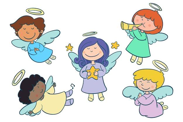 Ręcznie rysowane kolekcji anioła bożego narodzenia