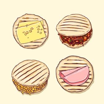 Ręcznie rysowane kolekcji arepas