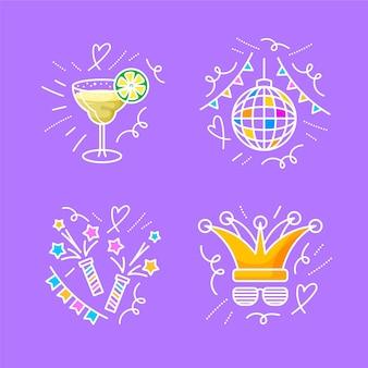 Ręcznie rysowane kolekcji doodles nowego roku