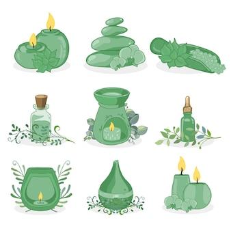 Ręcznie rysowane kolekcji elementów aromaterapii