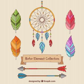 Ręcznie rysowane kolekcji elementów boho