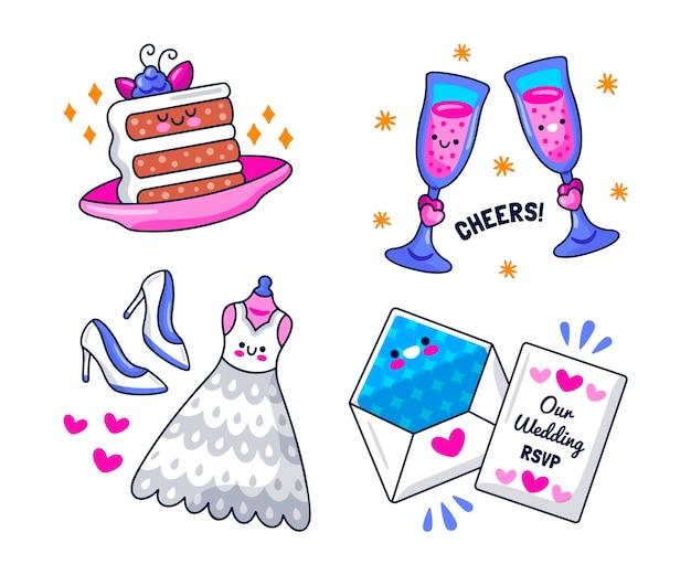 Ręcznie rysowane kolekcji elementów ślubu