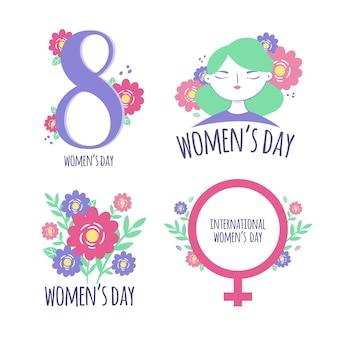 Ręcznie rysowane kolekcji etykiet / odznak na dzień kobiet