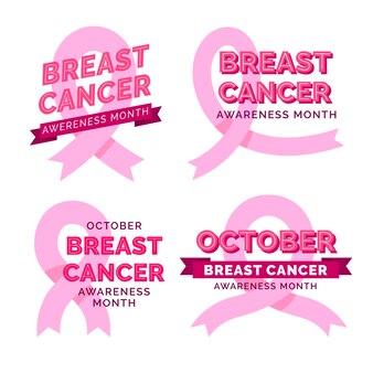 Ręcznie rysowane kolekcji etykiet płaski miesiąc świadomości raka piersi
