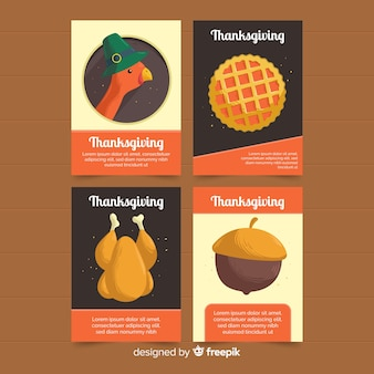 Ręcznie rysowane kolekcji kart święto dziękczynienia