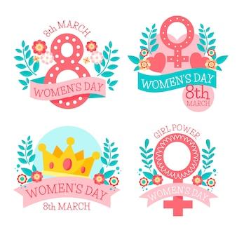 Ręcznie rysowane kolekcji kobiet dzień etykiety