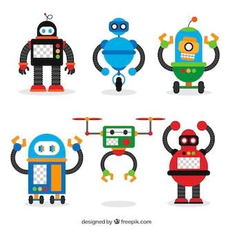 Ręcznie rysowane kolekcji kolorowych robotów