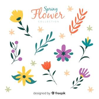 Ręcznie rysowane kolekcji kwiatów wiosny