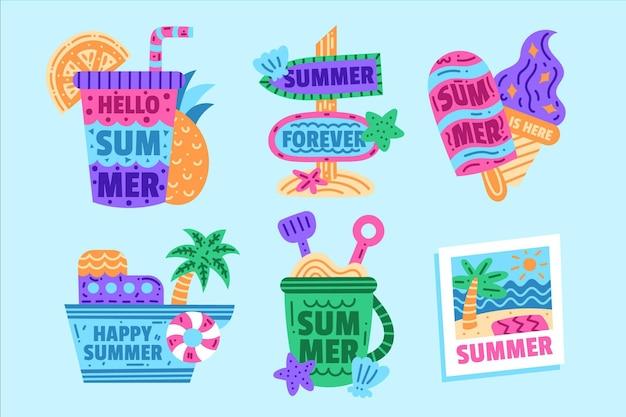 Ręcznie rysowane kolekcji letnich odznak